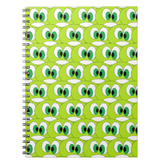 Cute Green Cartoon Faces All Over Pattern Funny Notebook