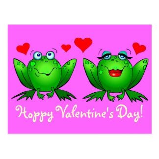 Cute Green Cartoon Frogs Hoppy Valentines Day Pink Postcard