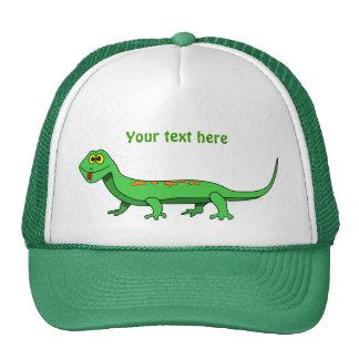 Cute Green Cartoon Lizard Reptile Cap