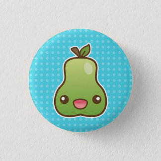 Cute Green Cartoon Pear Fruit With A Happy Face 3 Cm Round Badge