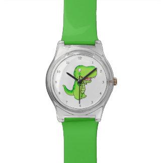 cute green cartoon t-rex watch