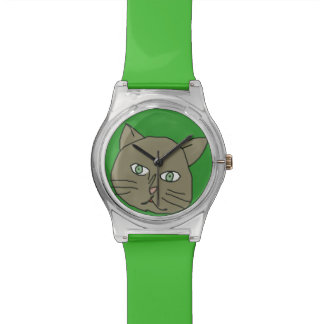 cute green cat time watch