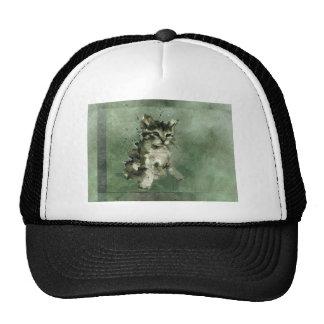 Cute green cat Watercolor Painting Illustration Trucker Hat