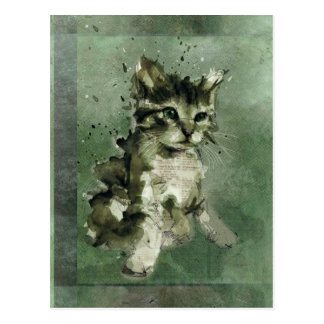 Cute green cat Watercolor Painting Illustration Postcard