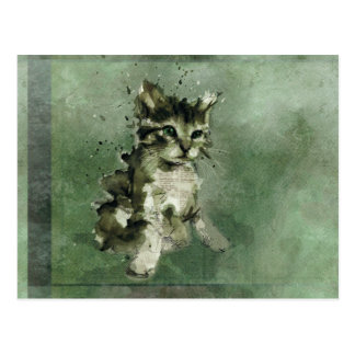 Cute green cat Watercolor Painting Illustration Postcard