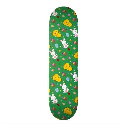 Cute green chick bunny egg basket easter pattern skateboard decks
