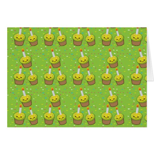 Cute green cupcakes with candles repeating pattern greeting cards