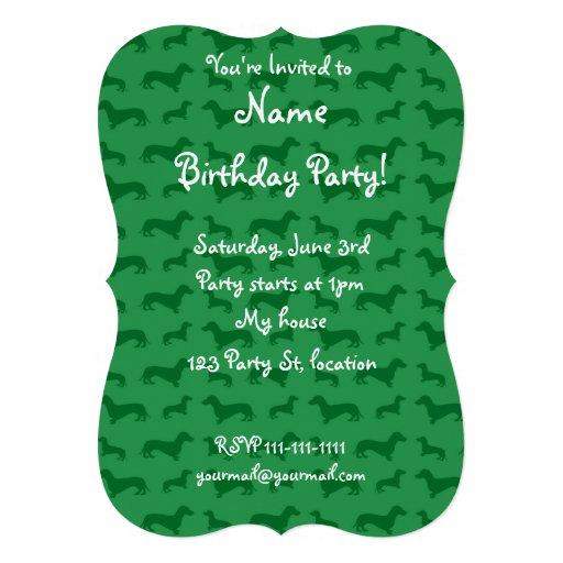 Cute green dachshund pattern invite