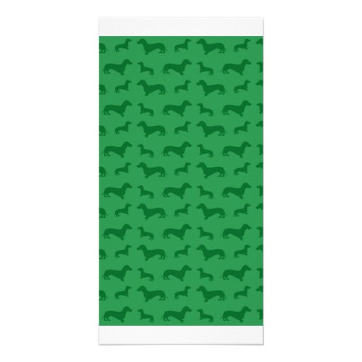 Cute green dachshund pattern picture card