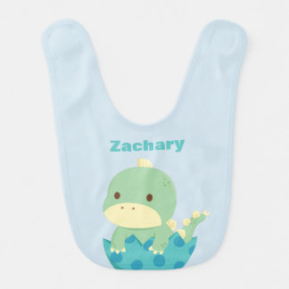 Cute Green Dinosaur in Egg Baby Bib