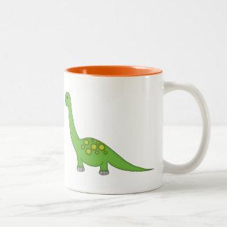 Cute Green Dinosaur+Personalize Name Two-Tone Coffee Mug