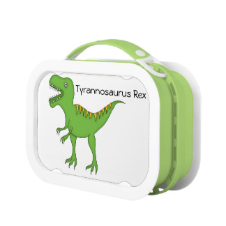 Cute Green Dinosaur-T-Rex+Personalize Name Lunch Box