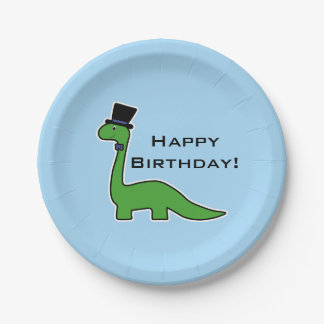 Cute Green Dinosaur with Top Hat Birthday Paper Plate