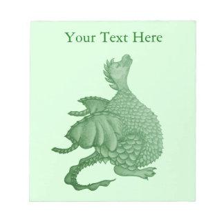 cute green dragon mythical fantasy creature art notepad