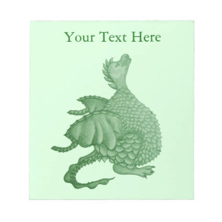 cute green dragon mythical fantasy creature art notepads