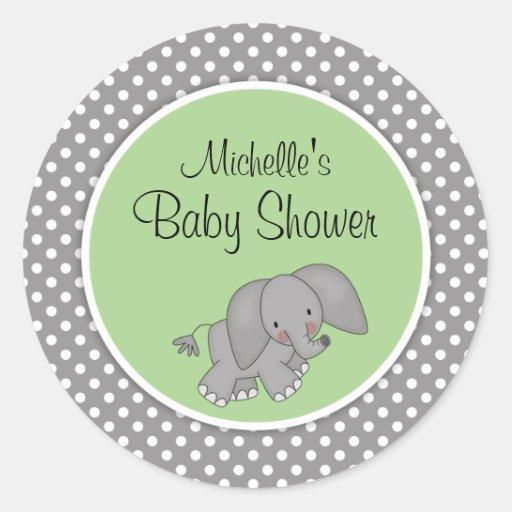 Cute Green Elephant Gender Neutral Baby Shower Round Sticker