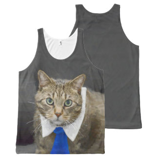 Cute green-eyed brown tabby cat wearing a blue tie All-Over print singlet