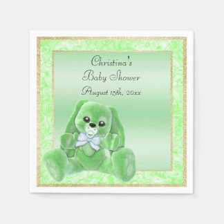 Cute Green Floppy Ears Bunny Baby Shower Disposable Serviettes