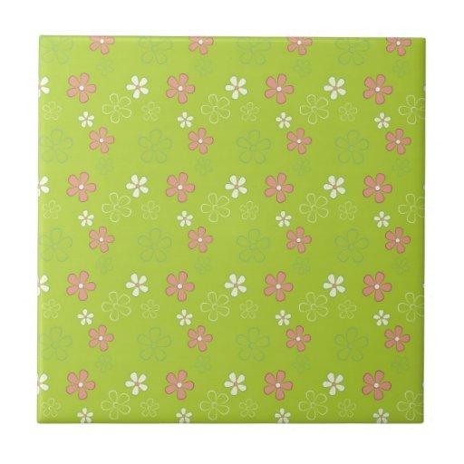 Cute Green Flower Pattern Tiles