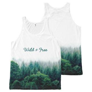 Cute Green Forest Wild and Free All-Over Print Singlet