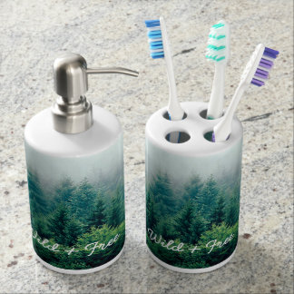 Cute Green Forest Wild and Free Bathroom Set