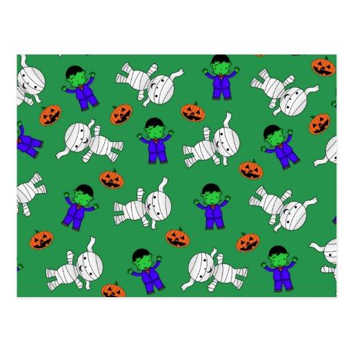 Cute green Frankenstein mummy pumpkins Post Card