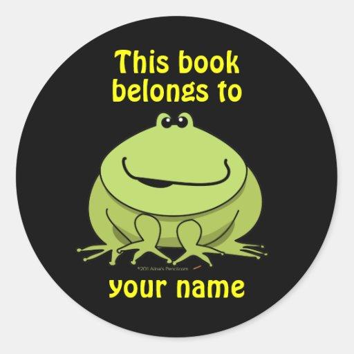 Cute Green Frog Custom Bookplates Stickers