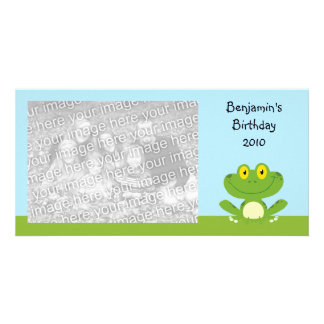 Cute Green Frog Customized Photo Card