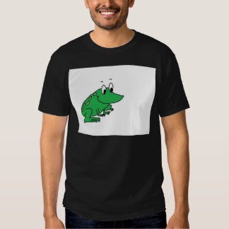 Cute green frog drawing tee shirt