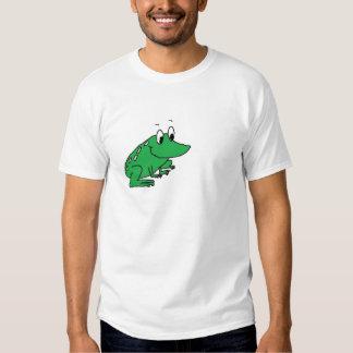 Cute green frog drawing tee shirts