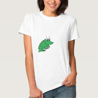 Cute green frog drawing tshirt