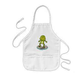 Cute green frog kids apron
