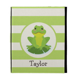 Cute Green Frog on Striped Pattern iPad Folio Cover