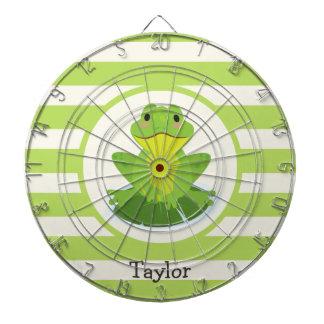 Cute Green Frog on Striped Pattern Dart Board