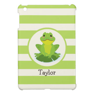 Cute Green Frog on Striped Pattern iPad Mini Covers