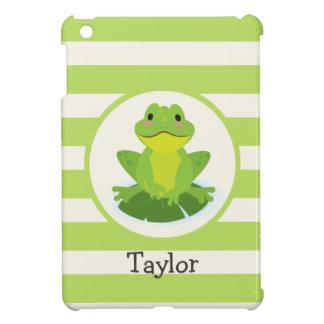 Cute Green Frog on Striped Pattern iPad Mini Cases