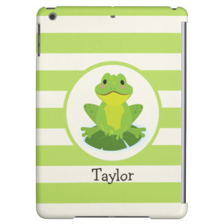 Cute Green Frog on Striped Pattern Case For iPad Air