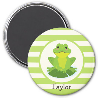 Cute Green Frog on Striped Pattern Refrigerator Magnets