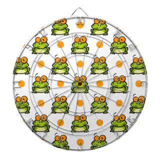 Cute Green Frog, Orange & White Polka Dots Dartboard
