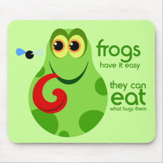 Cute Green Frog Quote Mousepad