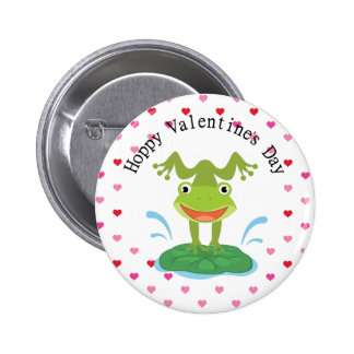 Cute Green Frog Valentine s Day Pinback Buttons