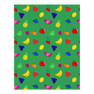 Cute green fruits pattern full color flyer