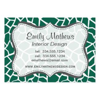 Cute Green Giraffe Animal Print Business Card Template