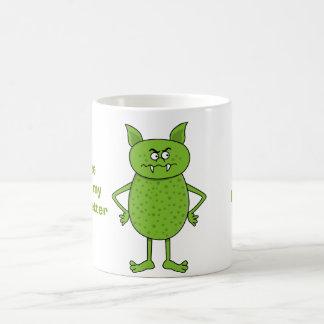Cute green goblin cartoon coffee mug