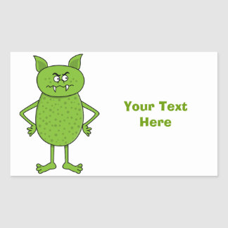 Cute green goblin cartoon rectangular sticker