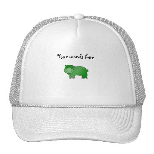 Cute green hippo trucker hat