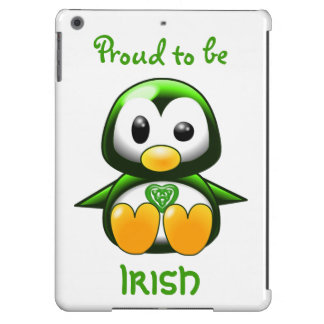 Cute Green Irish Penguin Cartoon with Celtic Knot Cover For iPad Air