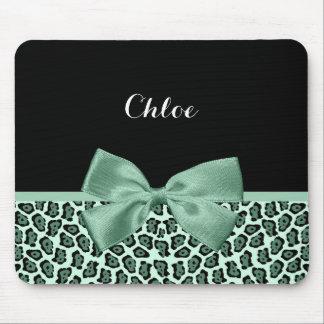 Cute Green Jaguar Print Girly Jade Bow and Name Mouse Pad