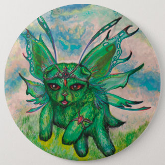 Cute Green Kitten Cat winged 6 Cm Round Badge