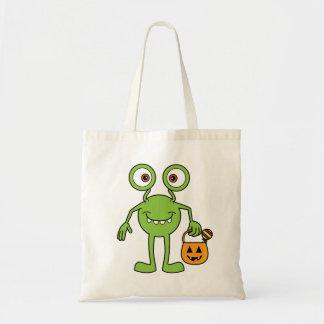 Cute Green Monster Happy Halloween Bag